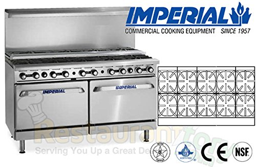 Imperial Commercial Restaurant Range 60'' W/ 10 Step Up Burners 2 Standard Ovens Nat Gas Ir-10-Su by Imperial
