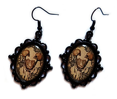 Moon Maiden Jewelry Black Framed Conjoined/Siamese Twin Skeleton Cameo Earrings