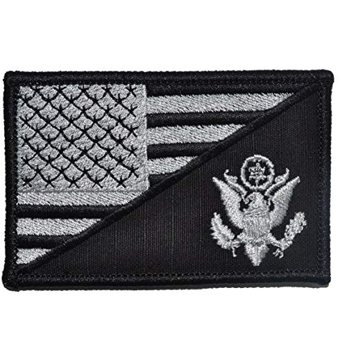 (Army Crest USA Flag - 2.25x3.5 Morale Patch - Black)