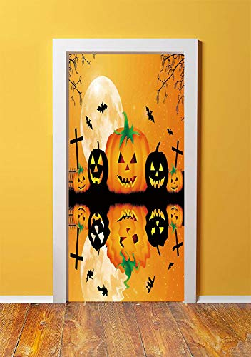 Halloween Decorations 3D Door Sticker Wall Decals Mural Wallpaper,Spooky Carved Halloween Pumpkin Full Moon with Bats and Grave Lake,DIY Art Home Decor Poster Decoration 30.3x78.3545,Orange -