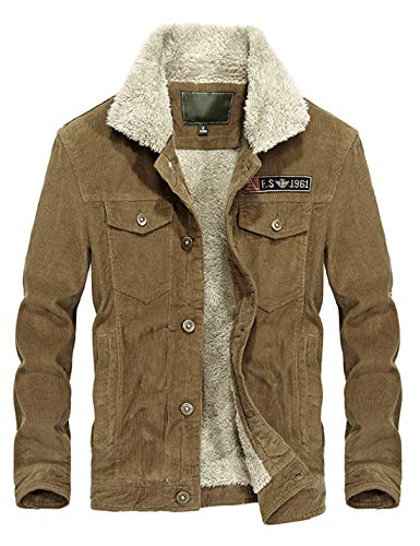 Lentta Mens Winter Slim Short Military Sherpa Lined Corduroy Trucker Jacket Coat (X-Large, A-Khaki)