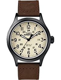 Timex Men's T49963GP Expedition Scout Metal Cream Dial and Brown Leather Strap