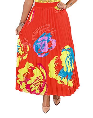 Women's A Line Pleated Skirts Casual Multicolor Graffiti Cartoon Printed Elastic Waist Swing Midi Dresses Small - Dress Skirt Printed
