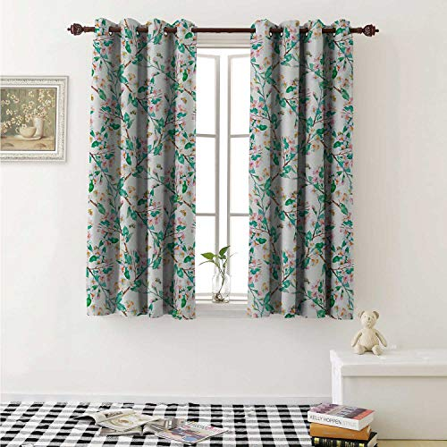 - shenglv Flower Customized Curtains Pink Cherry Blossoms Pattern with Bumble Bees Japanese Spring Themed Artful Print Curtains for Kitchen Windows W63 x L45 Inch Pink Green