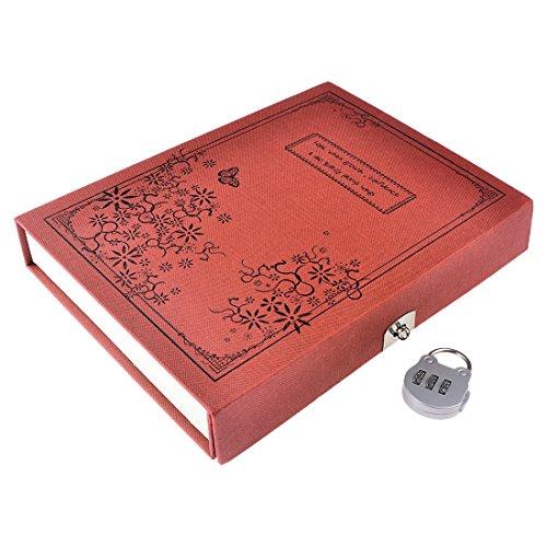 Notizblöcke, iTECHOR Portable Retro-Stil gebunden Tagebuch Notizbuch Journal Notizblock mit codierten Lock - Rot