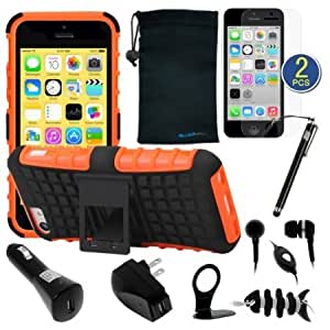 Bloutina BIRUGEAR 10-Items Essential Accessories Bundle kit for Apple iPhone 5C (includes Orange Grip Dual Layer Kickstand...