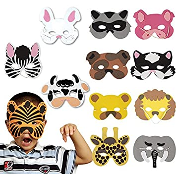 DAYAN 12 pcs Máscaras de animales salvajes de los niños Foam Wild Animal Masks Cosplay Halloween