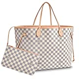 Leather House Damier Ebene Canvas Neverfull MM White(Pink) 32x29x17cm