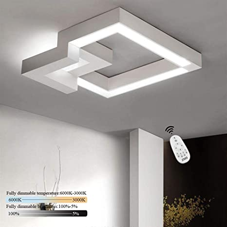 ZMH LED Deckenleuchte Wohnzimmer 32W Dimmbar mit Fernbedienung Deckenlampe  Flur Badlampe Wohnzimmerlampe Esszimmer Arbeitszimmer Schlafzimmer