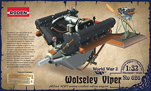 WOLSELEY VIPER PLANE ENGINE WITH BASE AND PE SET WWI 1/32 RODEN 626 FREE SHIPPING