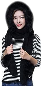 ITODA 3 in 1 Warm Hood Hat Thick Warmer Cap Gloves Scarf Set Earflap Winter Long Fleece Hoodie Kids Pocket Mitten Headscarf Ear Cuff Costume Party Hat