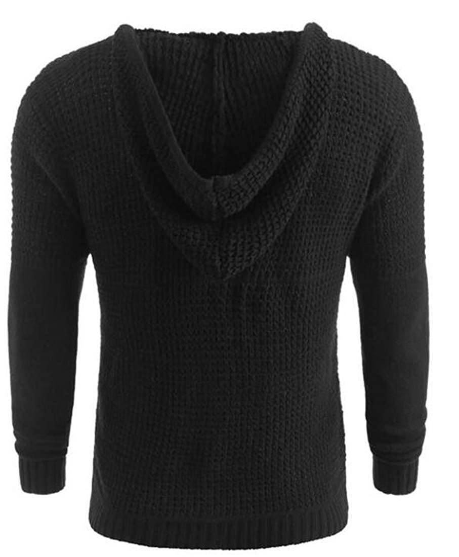 Etecredpow Mens Hooded Hollow Out Stretchy Comfy Toggle Knitted Long Sleeve Pullover Jumper Sweater