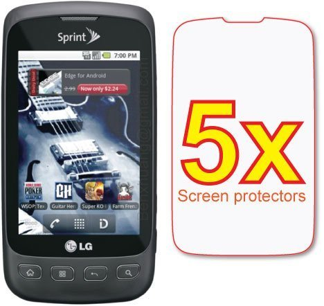 (eTECH Collection 5 Pack of Crystal Clear Screen Protectors for LG Optimus S LS670 - from USA)