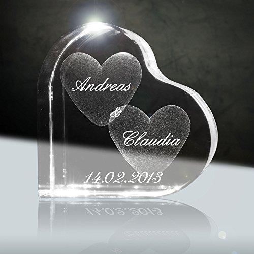 3D Laser Glaskristall Herzform mit deiner Wunschgravur (Namen, Datum und Zusatztexten - das ideale Liebesgeschenk zB. für den Valentinstag