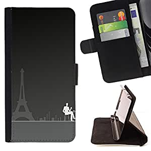 DEVIL CASE - FOR LG OPTIMUS L90 - Paris Cafe Art Eiffel Tower City Coffee Painting - Style PU Leather Case Wallet Flip Stand Flap Closure Cover