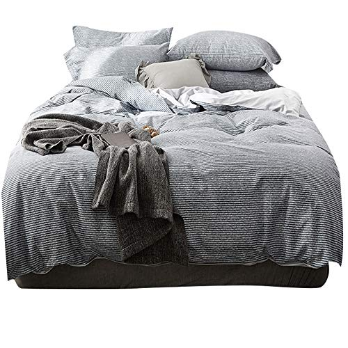 Modern Pinstriped Queen Duvet Cover Set Cotton Reversible Full Bedding Set 3 Piece Nordic Style Men Boys Duvet Comforter Cover Set for Teens Adults Hotel Quality Luxury Bedding Collection