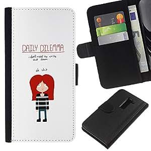 YiPhone /// Tirón de la caja Cartera de cuero con ranuras para tarjetas - DIVERTIDO EMO DILEMA DIARIO - LG G2 D800