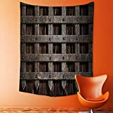 aolankaili Wall Hanging 3D Printing Tapestry Medieval Wooden Castle Wall Metal Gate Greek Mid Century Design Art Print Dark Wall Tapestry for Dorm Living Room Bedroom