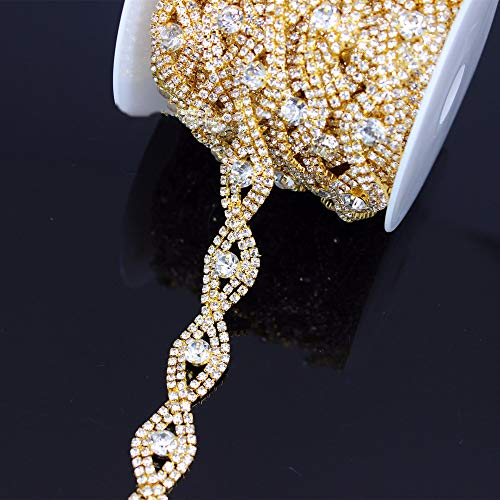(Crystal Metal Chain Trim with Rhinestones for Wedding Waist Belts Bridal Hair Jewelry Shoes Bags Dresses (Gold))