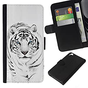 All Phone Most Case / Oferta Especial Cáscara Funda de cuero Monedero Cubierta de proteccion Caso / Wallet Case for HTC Desire 820 // Tiger Snow Leopard Winter Black White Fur Animal