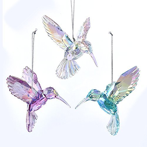 - Kurt Adler 3 Assorted Acrylic Iridescent Purple, Blue and Clear Hummingbird Christmas Ornaments