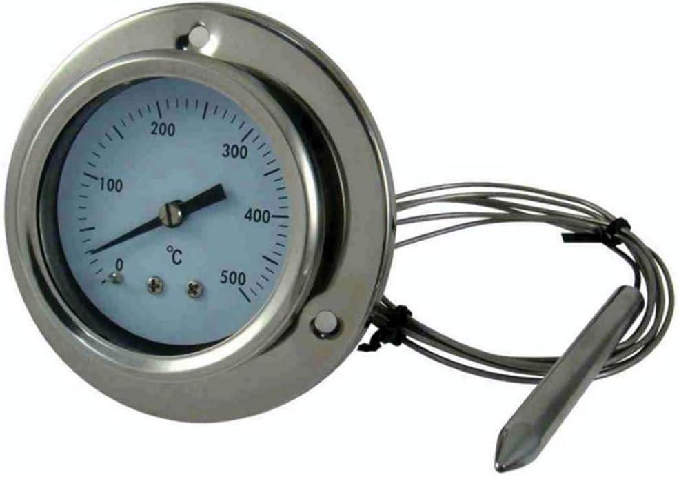 Giemme Spoleto - Termómetro de Acero Inoxidable 500 °C con sonda Flexible y conexión a Tornillos. para Horno de leña, Horno, Barbacoa