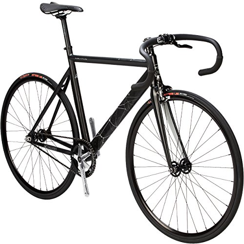 (Pure Cycles Keirin Pro Elite 6000 Aluminum Complete Track Bike, 55cm/Medium, Orion Black)