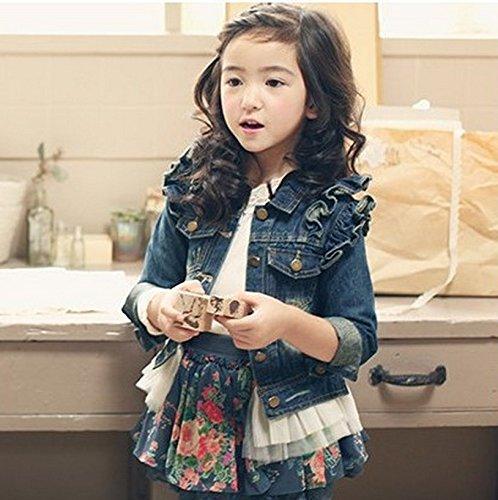 Gaorui Girls Kids Denim Jacket Ruffle Lace Jean Coat Top Cowboy Outwear Clothes for 6-10Y