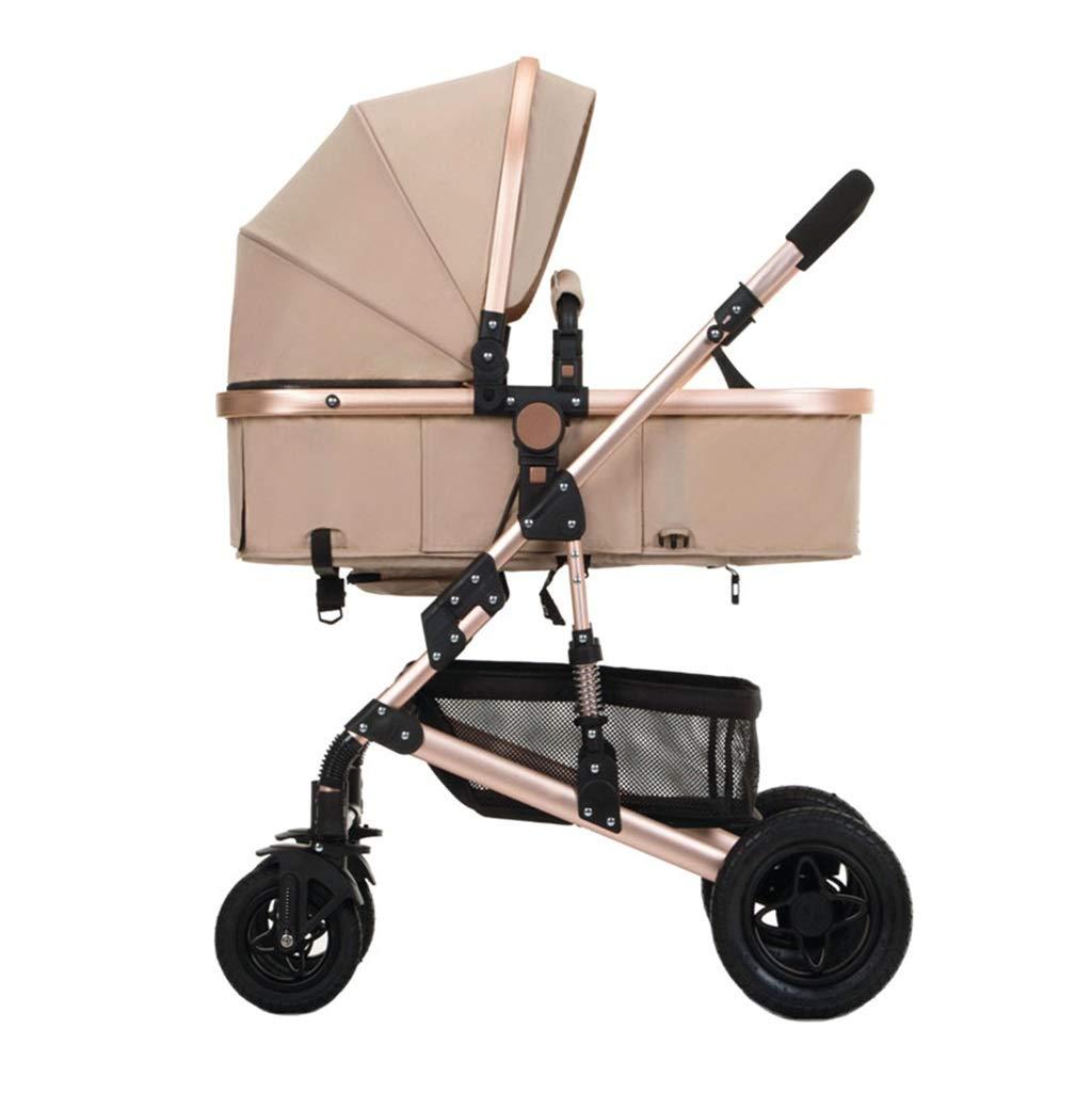 Cochecito de bebé de lujo para 4 Seasons, silla de paseo plegable ligera para bebés   con sistema de seguridad de 5 puntos   4 ruedas a prueba de golpes   Asiento ajustable   Canasta de almacenamiento