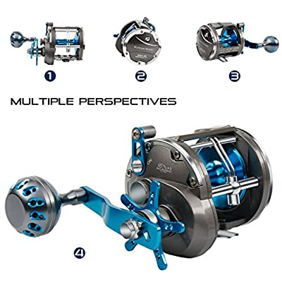 Burning Shark Trolling Reel Saltwater Level Wind Reels, Drag Reels Boat Fishing Ocean Fishing for Sea Bass Grouper Salmon