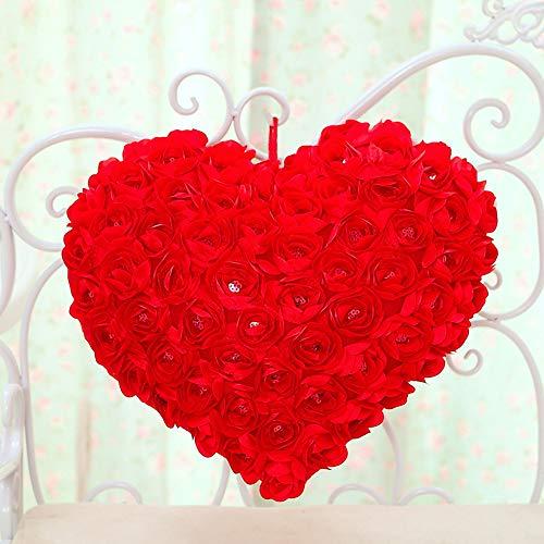 Wedding Rose Satin Flower Heart - PlayDo 3D Rose Flowers Accent Pillows Heart Shaped Garden Decorative Throw Pillow Couch Cushion Case Romantic Love Satin Rose Wedding Party Home Decor Home Sofa Bed Car