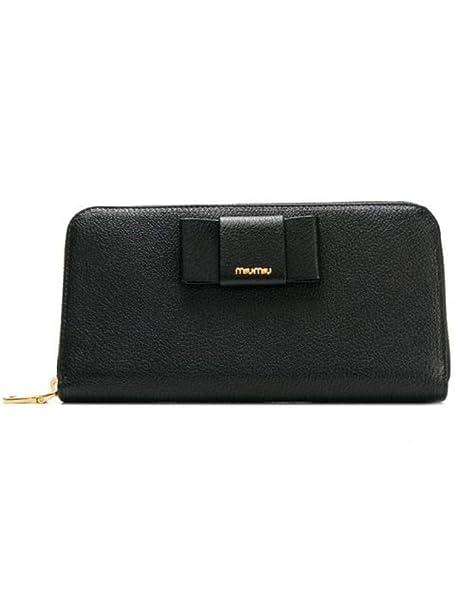 new styles 0e20e f4d46 miu miu Portafoglio Donna 5Ml5062b64f0002 Pelle Nero: Amazon ...