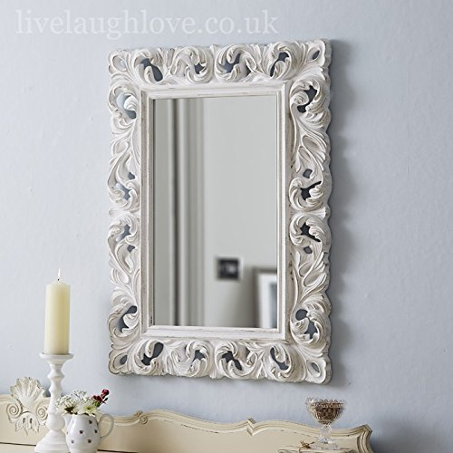 Live Laugh Love Large Ornate Mirror Carved - Antique White