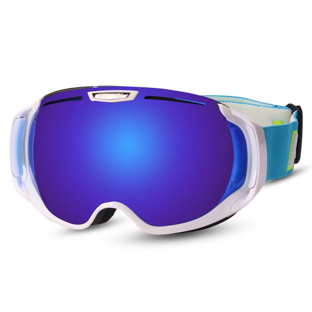 スキー用のゴーグル スキーゴーグル - PC、ダブルアンチフォグ、UVプロテクション、近視、大人のユニセックスプロの屋外スキーと登山器具大球状のHDゴーグルをもたらすことができる - 5色 (色 : 白い frame colorful 青) 白い frame colorful 青