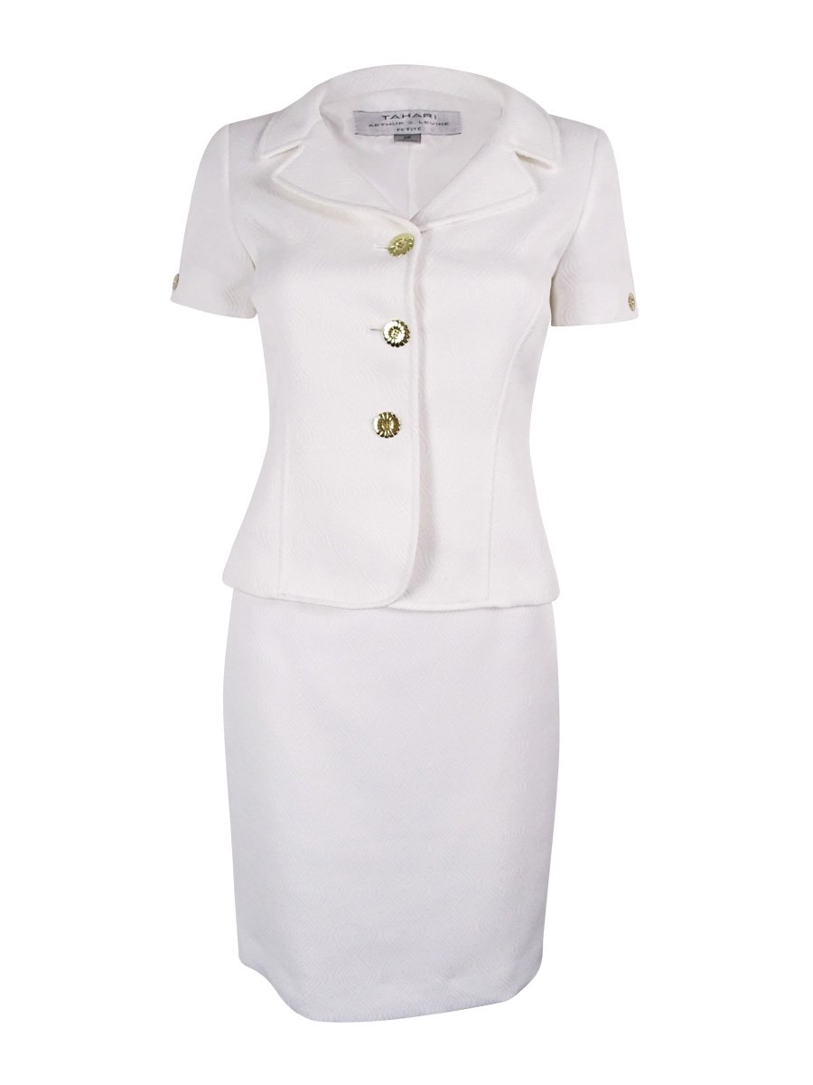 Tahari by Arthur S. Levine Women's Size Jacquard Skirt Suit with Novelty Gold Buttons, White, 0 Petite