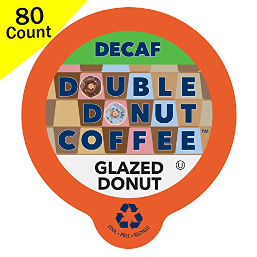 (Double Donut Decaf Flavored Coffee, in Recyclable Single Serve Cups for Keurig K-Cup Brewers, 80 Count (Decaf Glazed Donut))