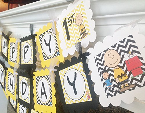PARTY PACK SPECIAL - Charlie Brown Inspired Happy Birthday Collection - Yellow and Black Chevron & White -