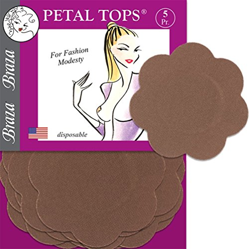 Braza Petal Tops - Disposable Nipple Covers - Cocoa (Top Petal Womens)