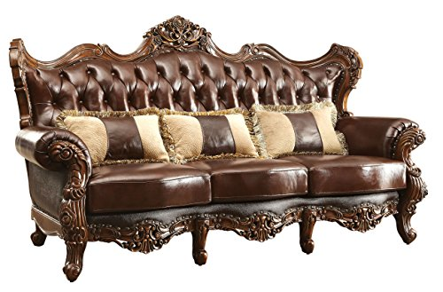 (HOMES: Inside + Out IDF-6786-SF Frankie Traditional Leather Sofa with Pillows,)