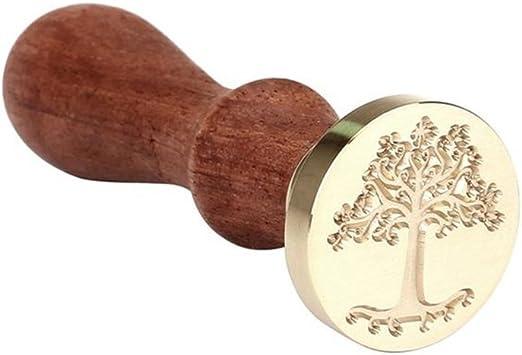 TOYMYTOY Sellado de cera Sello de Cera de madera retro para cartas - Árbol patrón: Amazon.es: Hogar