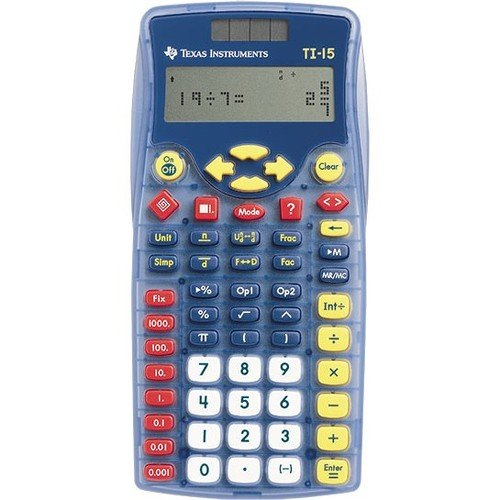 Texas Instruments TI-15 Explorer Elementary Calculator - Plastic Key, Impact Resistant Cover - 2 Line(s) - 12 Digits - Battery/Solar Powered - 1 Each by Texas