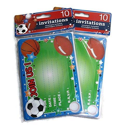 Kids Birthday Party Invitations 20 Invitations Total Sports Themed Soccer Baseball Football Basketball