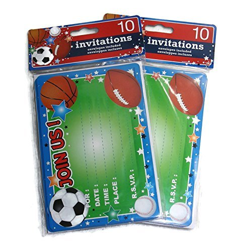 Kids Birthday Party Invitations - 20 Invitations Total (Sports Themed: Soccer, Baseball, Football, Basketball)