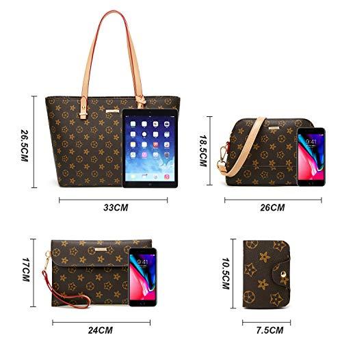 ELIMPAUL Women Fashion Handbags Tote Bag Shoulder Bag Top Handle Satchel Purse Set 4pcs (Black-3) by ELIMPAUL (Image #3)