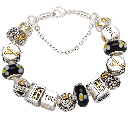 7 8inch Charm Complete Silver Tone Bracelets