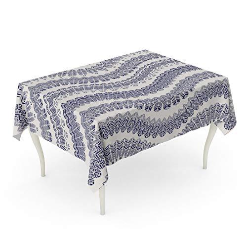 (Tarolo Rectangle Tablecloth 60 x 90 Inch Abstract Zig Zag Pattern Bird Feather Silhouette Dark Indigo Blue Waves Lacy Tribal Ornaments on Light Beige Folk Ethnic Table Cloth)