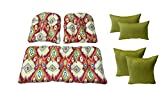 Wicker Cushions and Pillows 7 Pc Set - Losani Pompeii Red Teal Yellow Orange Green Ikat Cushions and Woven Twill Mojo Kiwi Green Pillows - Indoor / Outdoor Fabric
