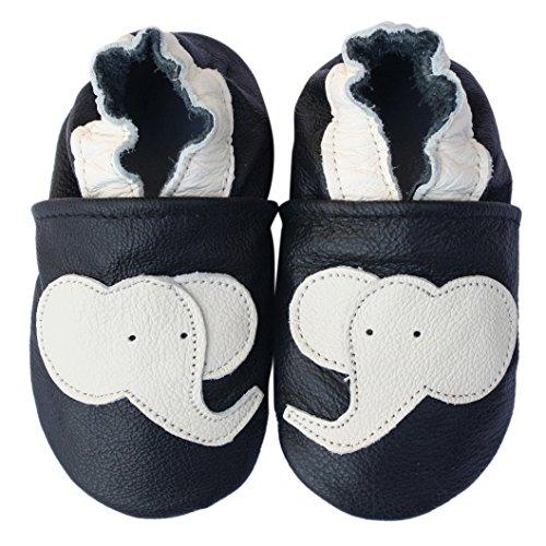 Carozoo Elephant Black Baby Boy Soft Sole Leather Shoes Black
