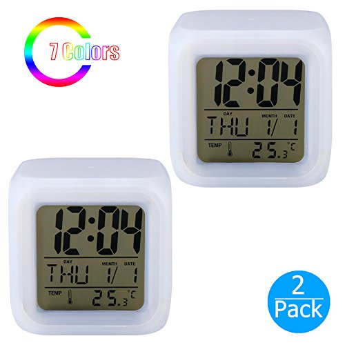 EEEKit 2-Pack Digital Alarm Thermometer Night Glowing Cube 7 Colors Clock LED Change LCD LED Changing Digital Alarm Clock with Snooze, Music and Large Display (White)