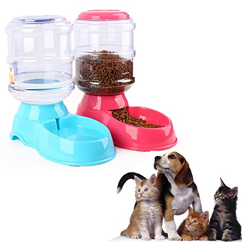Jutao Pet Feeder and Waterer, Automatic Self- dispenser Food Feeder Gravity Drinking Fountains 1 Gallon/2.2lbs/ 3.5L for Dog and Cat (Waterer+Feeder) by Jutao
